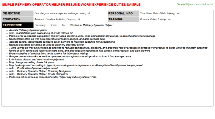 Refinery Operator Helper Resume Sample