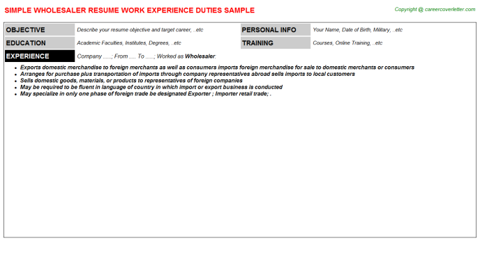 Wholesaler Resume Sample Template