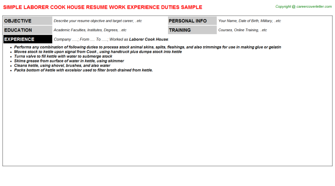 Laborer Cook House Resume Template