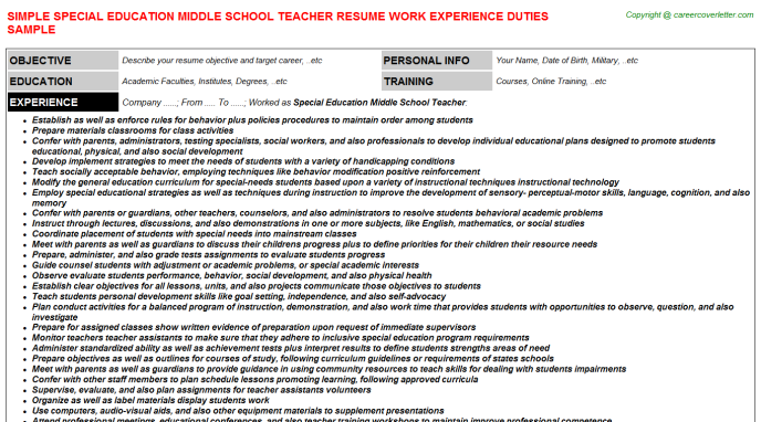 Special Education Middle School Teacher Resume Sample