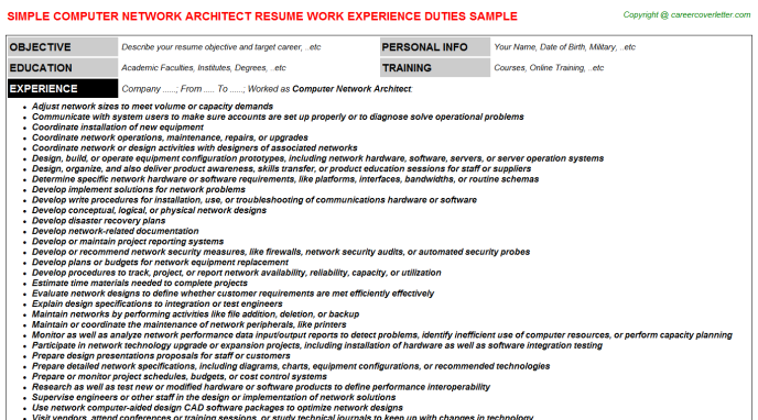 Computer Network Architect Resume Template