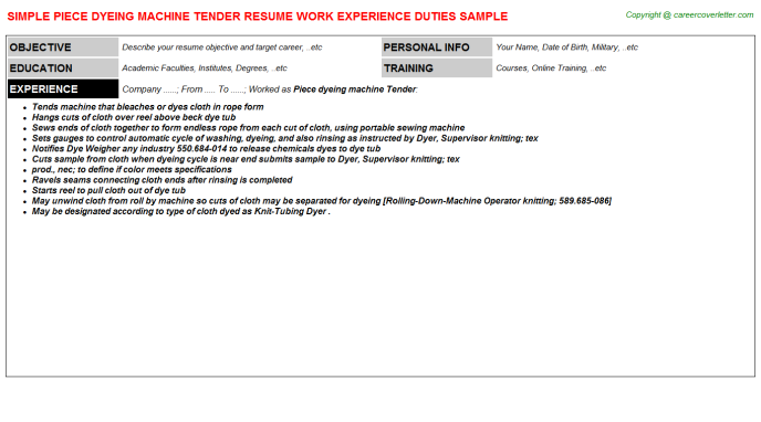 Piece Dyeing Machine Tender Job Resume Template