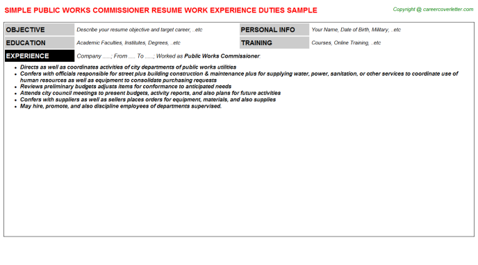 public works commissioner job resume sample