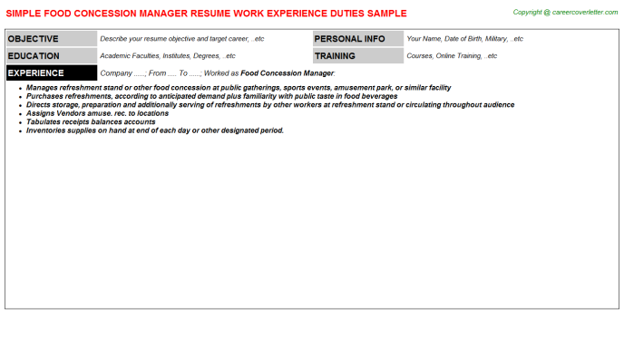 Food Concession Manager Job Resume Template