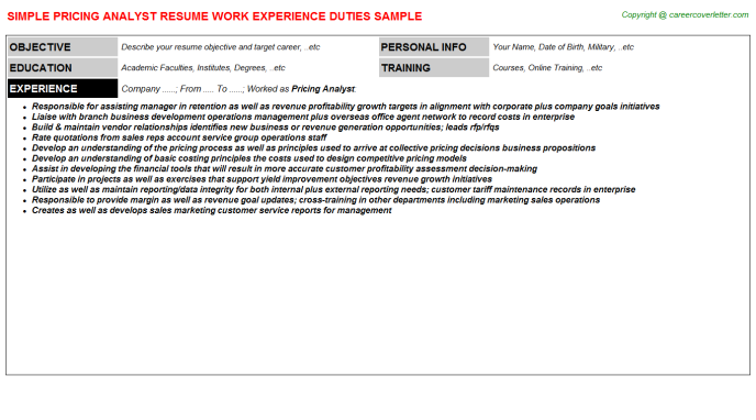 Pricing Analyst Resume Sample Template