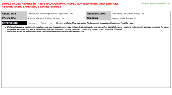 Sales Representative Radiographic inspection Equipment And Services Resume Template