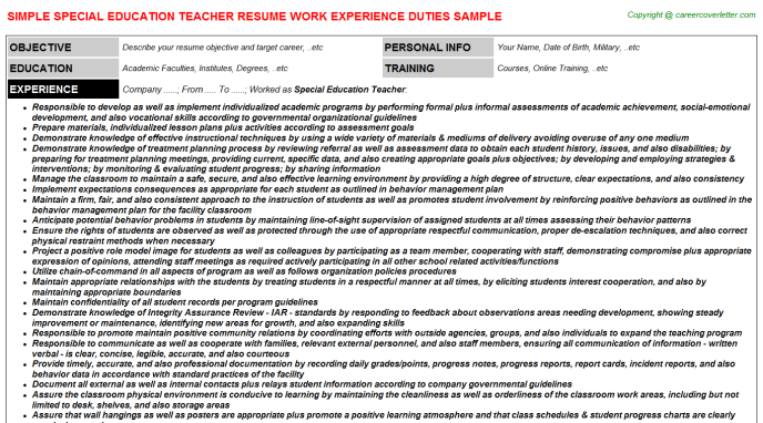 Special Education Teacher Resume Sample Template