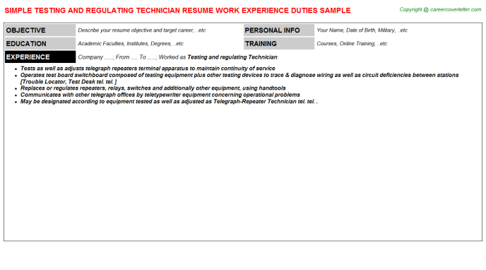Testing And Regulating Technician Resume Template