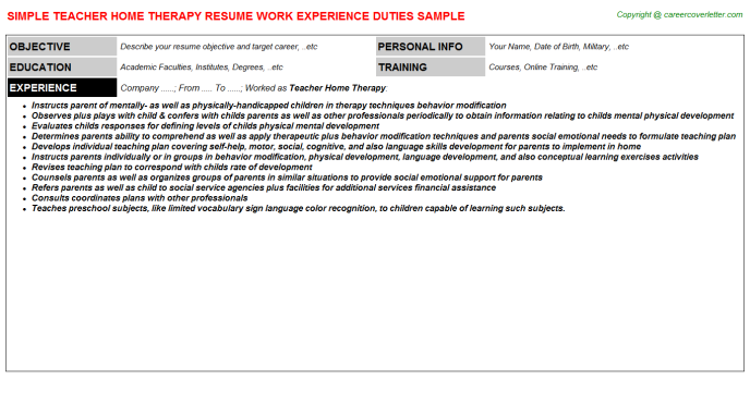 Teacher Home Therapy Resume Template