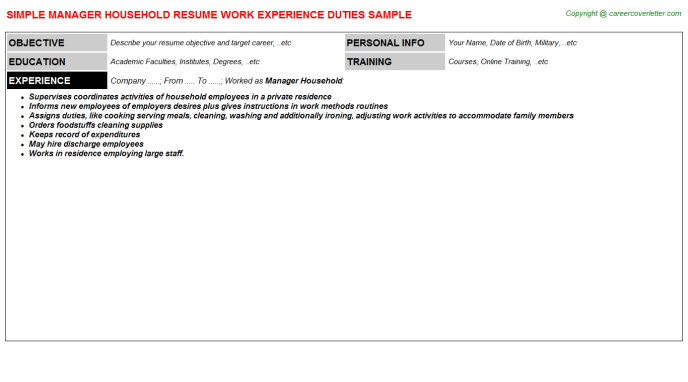 Manager Household Resume Template