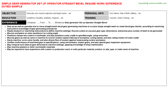 sample gear generator set up operator straight bevel resume template