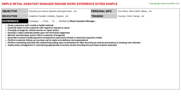 Retail Assistant Manager Resume Sample Template