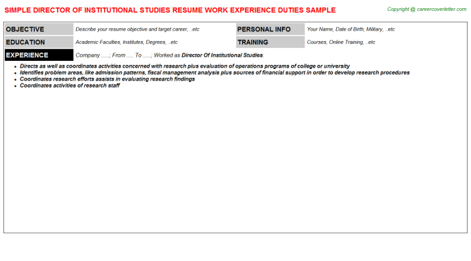 director of institutional studies resume template