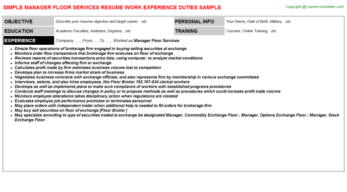 Manager Floor Services Resume Template