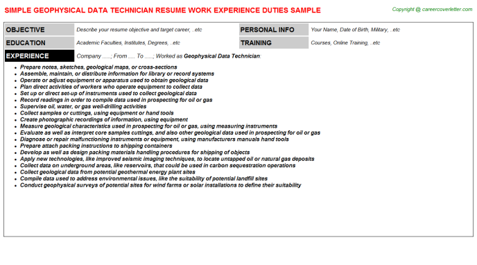 Geophysical Data Technician Resume Template