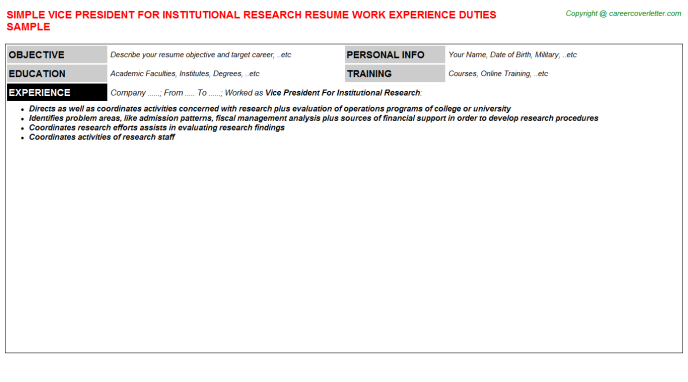 vice president for institutional research resume template