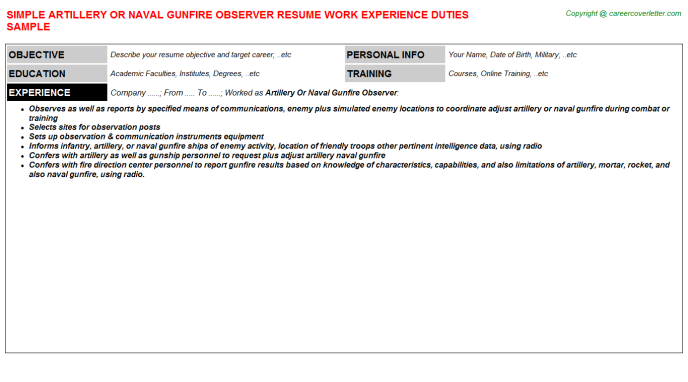 artillery or naval gunfire observer resume template