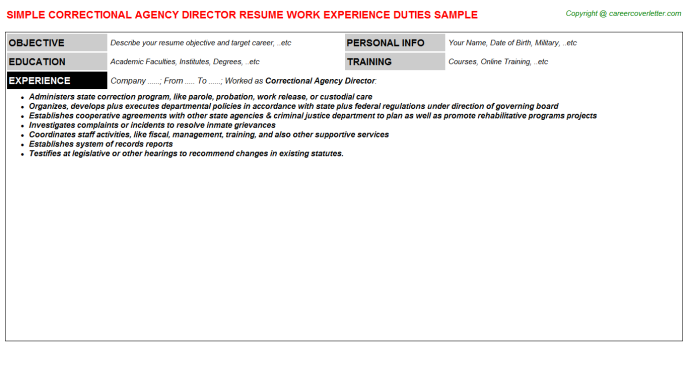 correctional agency director resume template