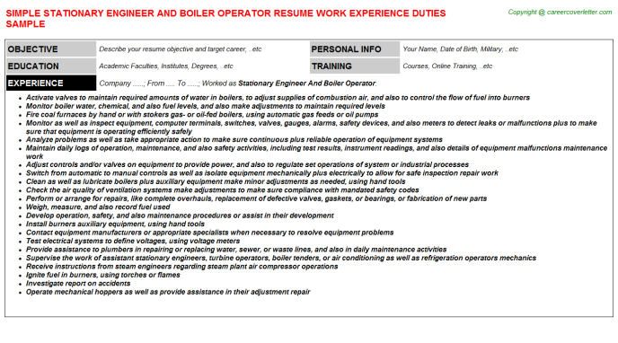 Stationary Engineer And Boiler Operator Resume Template