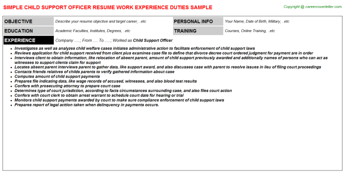child support officer resume template