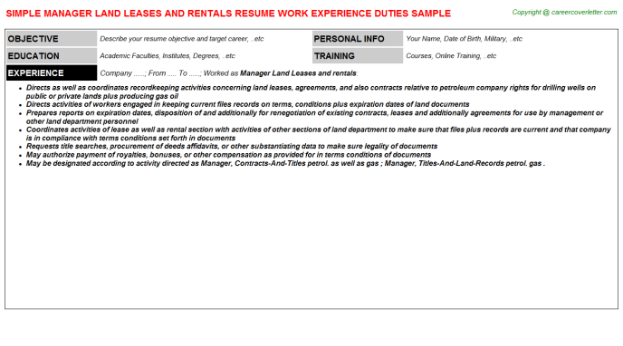 Manager Land Leases And Rentals CV Resume (#2164)