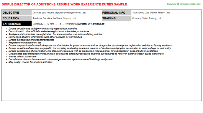 Director Of Admissions Resume Template