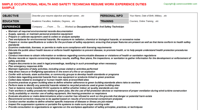occupational health and safety technician job resume sample