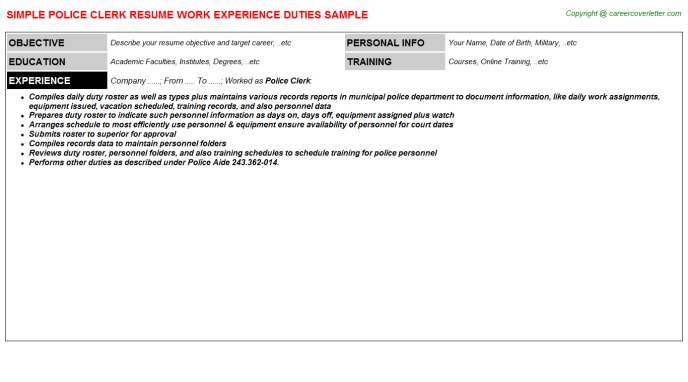 police clerk resume template