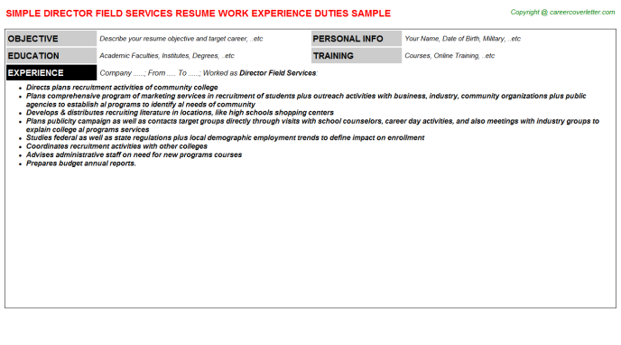 Director Field Services Job Resume Template