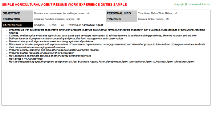 Agricultural Agent Resume Template