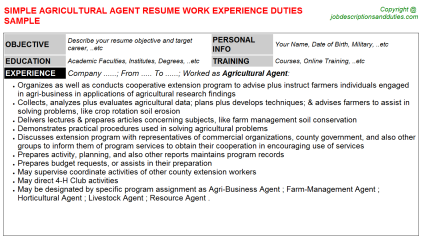 Agricultural Agent Job Resume Template