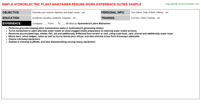 Hydroelectric plant Maintainer Resume Template