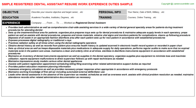 Registered Dental Assistant Resume Samples