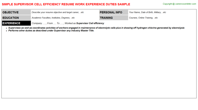 supervisor cell efficiency resume template