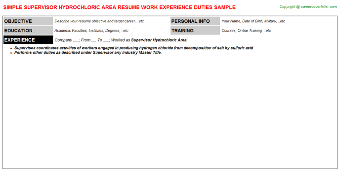 supervisor hydrochloric area resume template