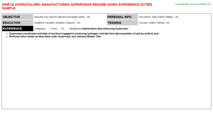 hydrochloric manufacturing supervisor resume template