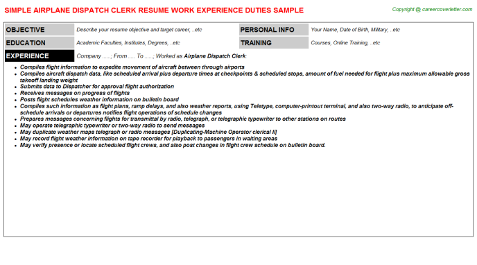 Airplane Dispatch Clerk Resume Template