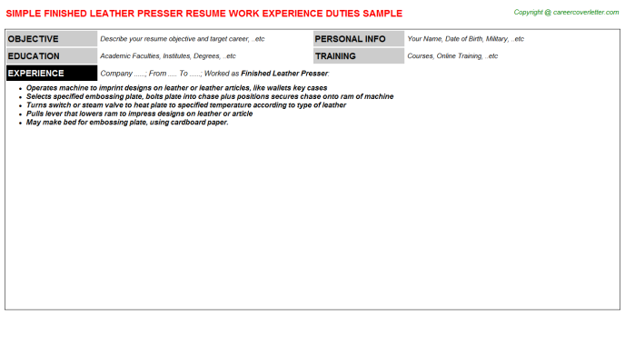 Finished leather Presser Resume Template