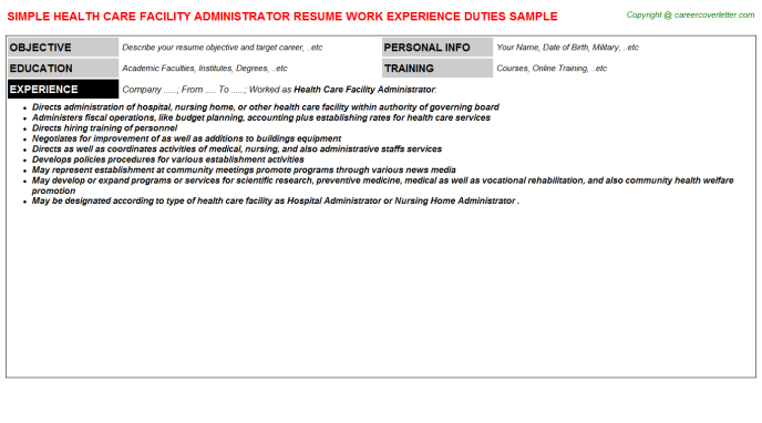 health care facility administrator resume template