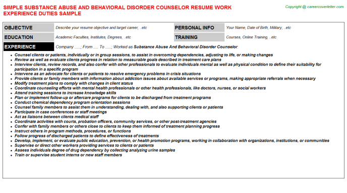 Substance Abuse And Behavioral Disorder Counselor Resume Template
