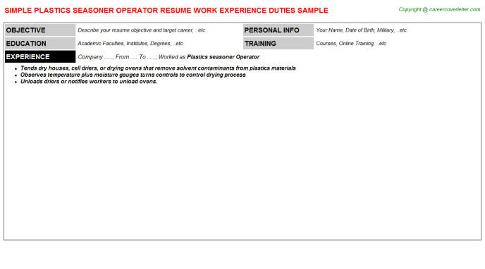 plastics seasoner operator resume template