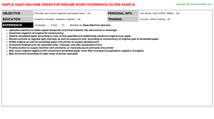 Diazo Machine Operator Resume Template