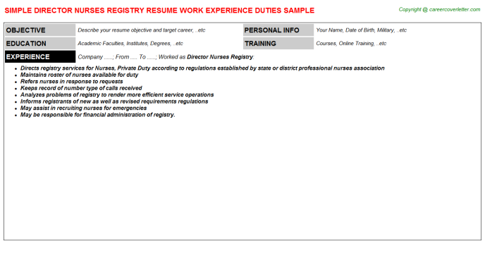 Director Nurses Registry Resume Template