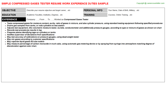 compressed gases tester resume template