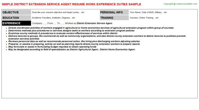 District Extension Service Agent Resume Template