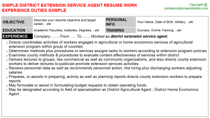 District Extension Service Agent Job Resume Template