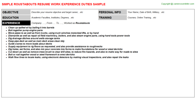 Roustabouts Job Resume Template