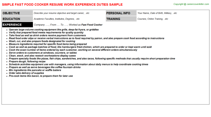 Fast Food Cooker Resume Sample