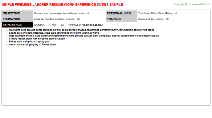 Pipelines Laborer CV Resume Example