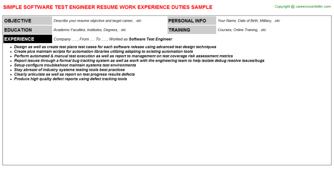 software test engineer resume template